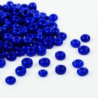 "100 gms 6/0 Deep Blue Glass Seed Beads Round Rocailles 4mm( 1/8"") Dia, Hole:  1mm"